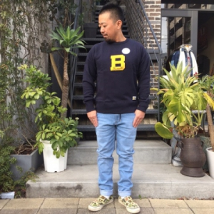 RUSSELL BLUEBLUE CN COLLEGE B スウェット NAVY